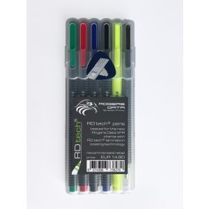 Rogers Data - RDtech PENS - 4 assorted perm. Fineliners, 1 Textsurfer, 1 mechanical Pencil